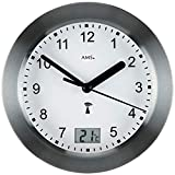 AMS AMS - Funkuhr - Wanduhr - Tischuhr - Aluminiumfrontreif anthrazit - wasserdichte Baduhr - digitale Temperaturanzeige