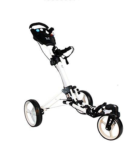 """Golftrolley Yorrx® SL Pro 7 HAMMA """"PLUS"""" Ausstattung, Golfwagen mit innovativem 360° SPIN Vorderrad (weiß) inkl. orig. Yorrx Golfhandtuch & Tees …"""