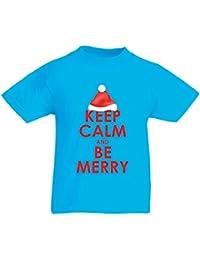 lepni.me Camiseta para Niño/Niña Mantenga la Calma y Sea Feliz, Camiseta