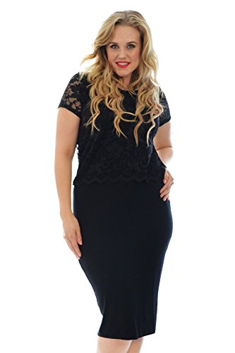 Neues Damen Übergrößen Kleid Frauen 2 In 1 Spitze Top Rock Kurzarm Womens Plus Size Floral Lace Dress Sale Partywear Nouvelle Collection Schwarz 54-56 (Floral Rock Size Plus)