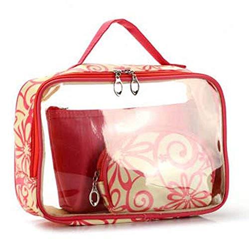 LX-CG 3 Stück Kosmetikbeutel wasserdichte Kosmetische Make-up Tasche Kosmetiktasche mit Reißverschluss Transparent PVC Kulturbeutel Multi-Größen (Klein, Medium, Groß), red