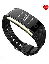 Pulsera inteligente, wisdomstar Smart pulsera de actividad Fitness pulseras resistente al agua podómetro con Monitor de frecuencia cardíaca y Sleep Tracker, pantalla táctil Smartwatch para Android y iOS Teléfonos Inteligentes, color negro