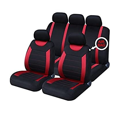 XtremeAuto® Universal Fit Set of Red / Black Car Seat Covers WLW2-A52