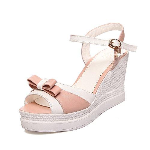 VogueZone009 Damen Schnalle Offener Zehe Hoher Absatz Pu Leder Gemischte Farbe Sandalen Pink