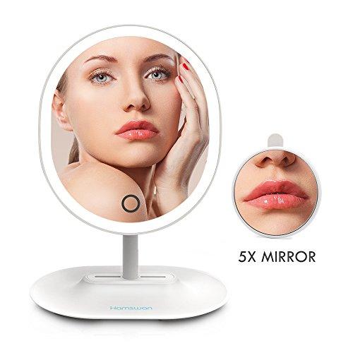 HAMSWAN RM223-DL Oval geformte elliptischen LED beleuchtete Make-up-Spiegel Kosmetikspiegel Rasierspiegel mit abnehmbarem 5X Vergrößerungsspiegel Touchscreen einstellbare Helligkeit USB-Aufladung (weiß)