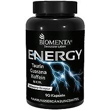 Biomenta ENERGY BOOST – con TAURINA + CAFEINA + GUARANA + TÉ VERDE + VITAMINA B12 + MAGNESIO + VITAMINA C + VITAMINA B3 + VITAMINA B6 – 90 Cafeína Capsulas
