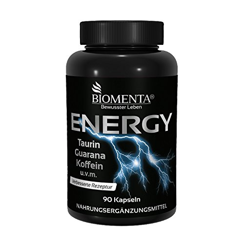 BIOMENTA ENERGY BOOSTER TABLETTEN (90 St.) VEGAN | PRE WORKOUT BOOSTER / TRAININGS BOOSTER mit TAURIN + GUARANA + KOFFEIN + GRÜNTEE + B-VITAMINEN + VITAMIN C + MAGNESIUM| get more than Koffeintabletten | Für aktive Frauen & Männer (Frauen Aktive)