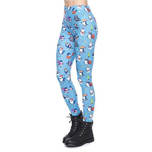 POAONOSS Yoga Hosen Weihnachten Serie Frauen Legging Pinguine Winter Spaß Druck Fitness Leggings Schlank Hohe Taille Frau Hosen - LGA49184, One Size (Pinguin-leggings)