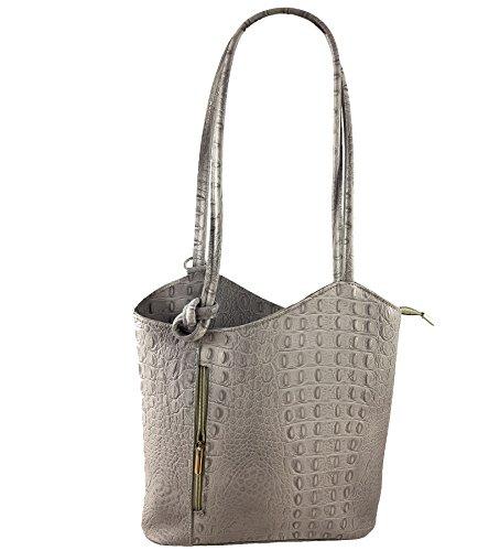 2 in 1 Handtasche Rucksack Designer Luxus Henkeltasche aus Echtleder in versch. Designs Kroko Grau