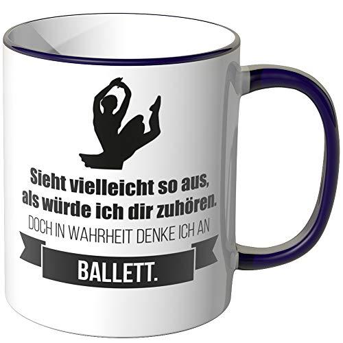 JUNIWORDS Tasse - Ich denke an Ballett - Wähle Motiv & Farbe - Lila (Ballett Denke)