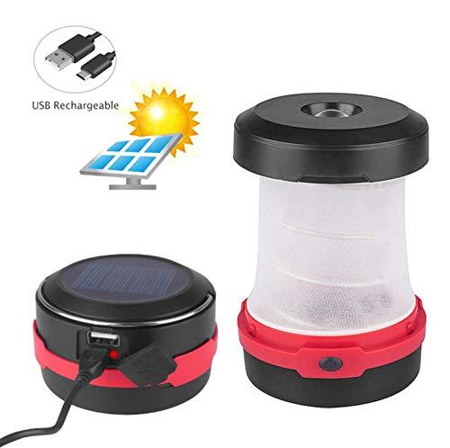 Emwel Solar Camping Laterne- USB Wiederaufladbar Faltbare LED Taschenlampe Outdoor Lampe für Wandern Angeln Zelt Garten SOS Notfall 1500 mAh Power Bank mit USB-Anschluss