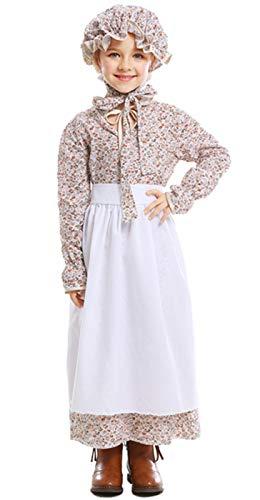 MOMBEBE COSLAND Mädchen Pionier Kostüme Blumenkleid (Beige, M)