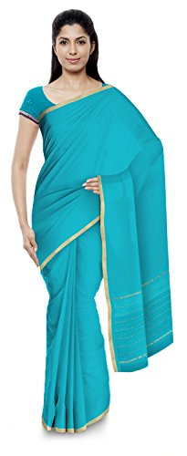 Yasin Sarees Women's Kota Doria Handloom Cotton Silk Saree With Blouse Piece (Blue)