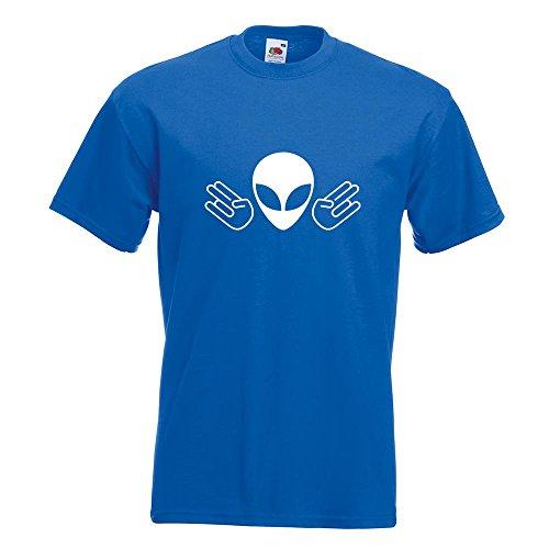 KIWISTAR - Alien Doppel Shocker T-Shirt in 15 verschiedenen Farben - Herren Funshirt bedruckt Design Sprüche Spruch Motive Oberteil Baumwolle Print Größe S M L XL XXL Royal