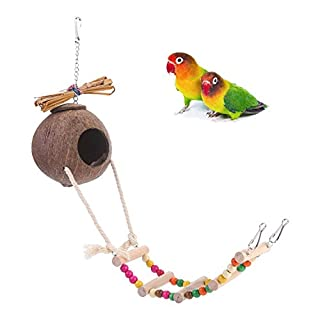 Auoker Bird Hut, 100% Natural Coconut Bird Hut with Colorful Bird Ladder, Funny Decorative Bird Home Toy for Parrot/Parakeet/ Conure/Cockatiel and Other Small Birds or Pets