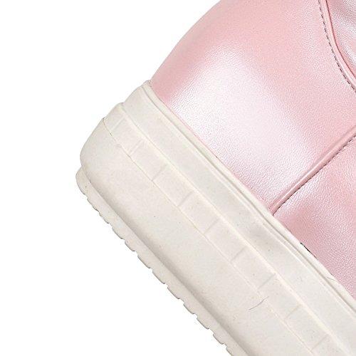AgooLar Damen Weiches Material Ziehen Auf Rund Zehe Hoher Absatz Mitte-Spitze Stiefel Pink