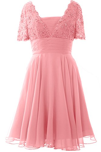MACloth Elegant Short Sleeve Mother of the Bride Dress Lace Cocktail Formal Gown Blush Pink
