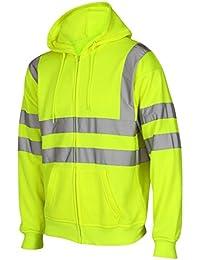 Juego de cúteres Hodded Viz reflectante Hi de trabajo cubiertos de visibilidad deportivos-camiseta de manga larga cremallera chaqueta con capucha tamaño del