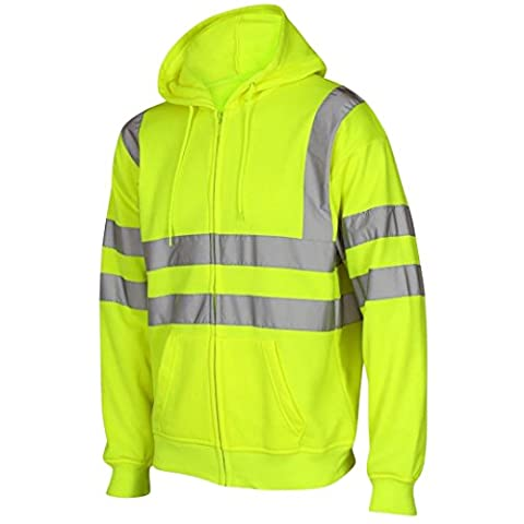 Hi Viz Vis Visibility Hodded Reflective Work Zip Fleece Sweatshirt Jacket Size-Yellow-XL (X Large)
