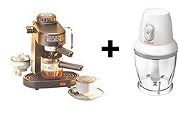 Clearline Combo of Espresso Coffee Maker + Mini Chopper / Mixer