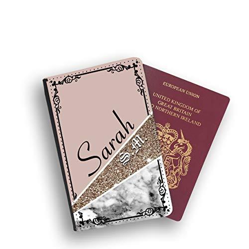 ckanhänger, Leder, Braun mit Glitzer Weiß Black with White Face Passport Holder ()