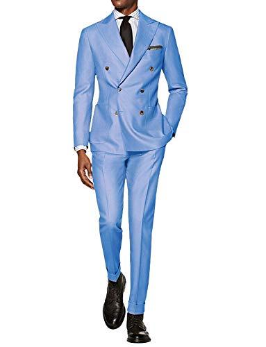 Wolle Plissierten Hosen (CALVINSUIT Herren Anzug 2 teilig zweireihig Spitzenrevers Business Hochzeits Smoking)