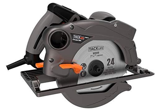 TACKLIFE Sega Circolare, 1500W, 2 lame 185mm (24T e 40T), Guida Laser, Protezione Metallica - PES01A