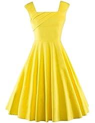 LA LA DRESS Camiseta sin mangas de algodón puro cintura largo apartado big vestido vestido: amarillo, M
