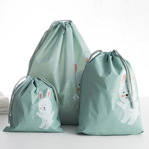 Bolsas de almacenamiento,3 piezas de viaje de almacenamiento portátil bolsas patrón de dibujos animados práctico almacenamiento impermeable LMMVP (B, 3Pcs)