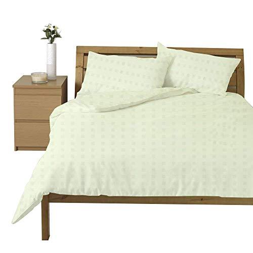 Linentown Bettbezug-Set aus ägyptischer Baumwolle, Fadenzahl 600, Mini-Karos, für Doppelbett/Twin-XL, elfenbeinfarben -