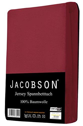 Jacobson Jersey Spannbettlaken Spannbetttuch Baumwolle Bettlaken (60x120-70x140 cm, Bordeaux) - 2