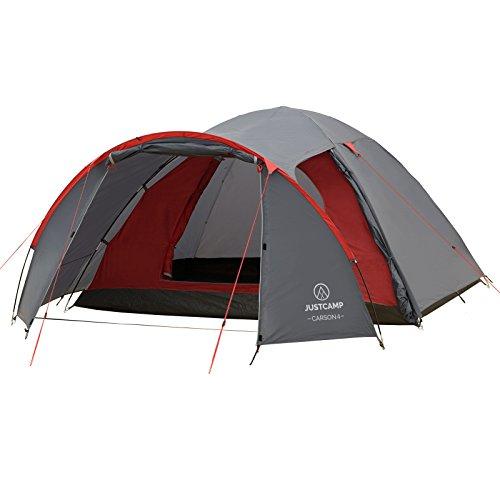 JUSTCAMP Campingzelt Carson 4, Kuppelzelt, 4 Personen - grau, Iglu Zelt, 2 Eingänge, Vorraum, Festival, Campingausflug
