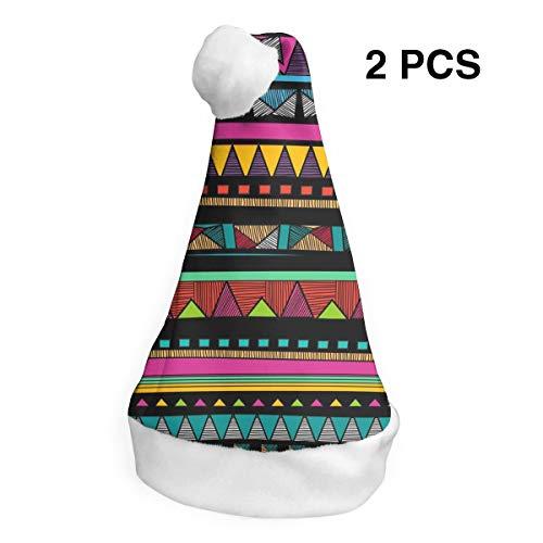 Stammes-Textur Santa Red Hat weiße Manschetten Plüsch Weihnachtsmütze für Erwachsene und Kinder S -
