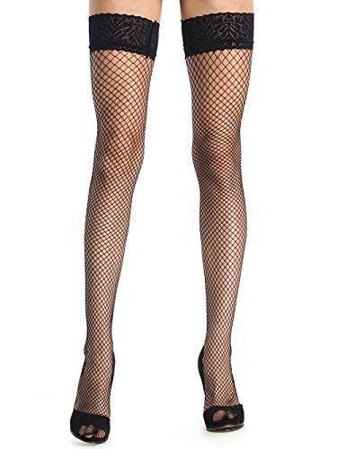 Beluring Overknee Stockings Damen Sexy Halterlose Strümpfe mit Spitzenabschluss Fischnetz Stayups Schwarz
