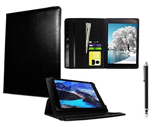 Galaxy Store Schwarz Universal PU Leder Tasche Hülle Wallet Brieftasche Case mit Kapazitiver Stift Touch für TrekStor PrimeTab P10 / SurfTab Xiron Tablet 10.1 Zoll (10-11 Zoll)