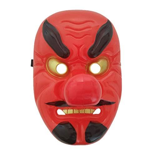 Red Plastic Tengu Lange Nase Maske Horror Japanischen Krieger Maske Halloween Festliche Ferien Cosplay Maske Kit Party ()