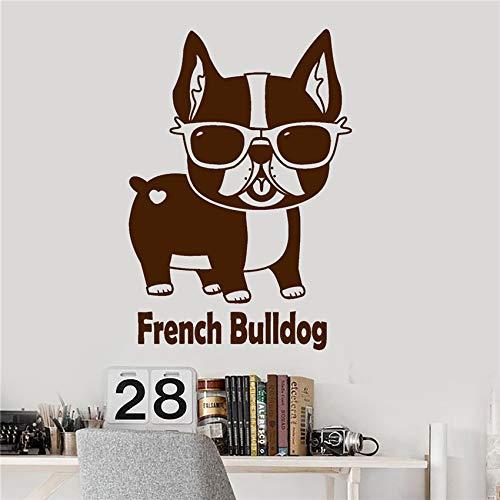 zhuziji Vinyl Wall Decal Französisch Bulldog Pet Shop Sonnenbrillen lustige Tier Aufkleber Living Wall Decals Wand Stick 87x125cm