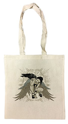 Mädchen mit Flügeln und Krähe Einkaufstasche Wiederverwendbar Strand Baumwoll Shopping Bag Beach (Flügel Krähe)