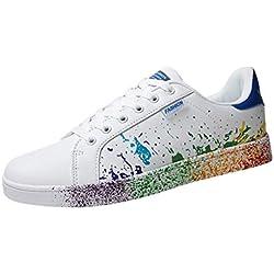 ZahuihuiM Mode féminine Couple Chaussures Éclaboussures d'encre Chaussures Blanches colorées pour Hommes Sport Conseil Chaussures Sneakers