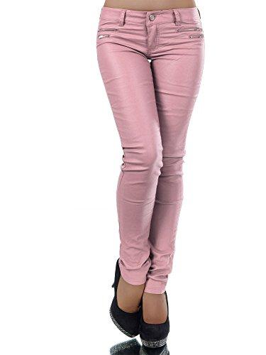 L521 Damen Jeans Hose Hüfthose Damenjeans Hüftjeans Röhrenjeans Leder-Optik, Farben:Rosa;Größen:34 (XS)