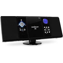 oneConcept V-12 Chaîne stéréo ultra-plate (Bluetooth, lecteur CD-MP3, écran LCD, montage mural possible, réveil via radio, CD ou buzzer) - Noir