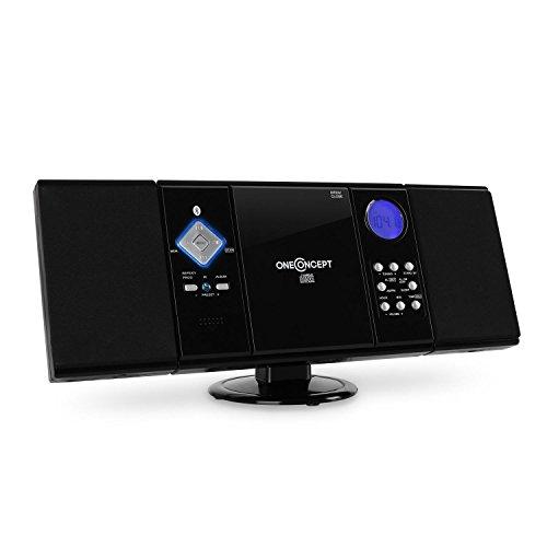 oneConcept V-12-BT • Cadena estéreo • Equipo compacto • minicadena • Bluetooth • Reproductor de CD con MP3 • USB • FM/AM • AUX • Mando a distancia • Acabados en lacado • Montaje en pared • Negro