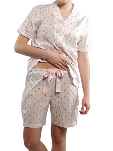 Seidensticker Damen kurzer Pyjama Schlafanzug Kurz - 141085 Weiß