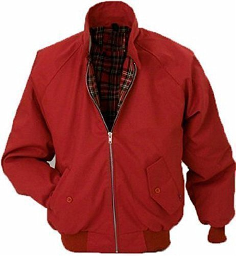 on Wholesale Workwear - Erwachsene Harrington Jacke Britisch Mantel Klassisch 1970er Jahre Retro Scooter Kariertes Futter - XL, Rot (Britische Roten Mantel)