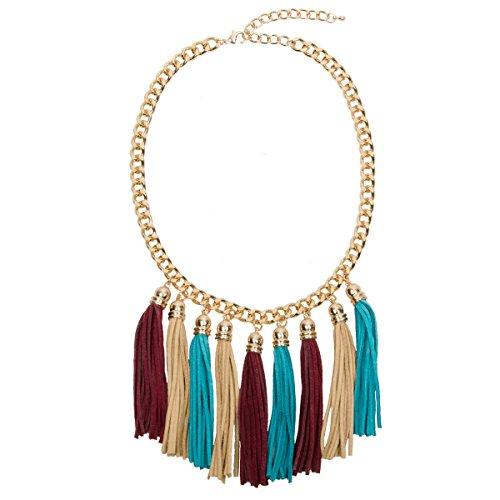 Adorning Ava goldene Glieder-Halskette im Boho-Stil mit Fransenquasten -