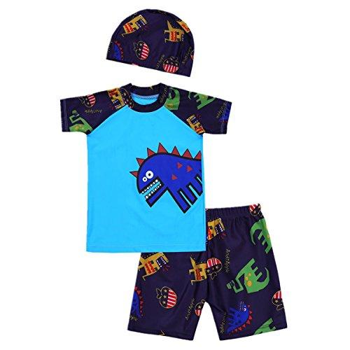 iiniim 3tlg. Kinder Jungen Bademode Badeanzug Set kurzarm T-shirt+Badeshorts+Bademütze UV-Schutz Badeset Für Gr.92-164 Blau 92-98/2-3 Jahre Badeanzug Für Jungen Mit Uv Schutz