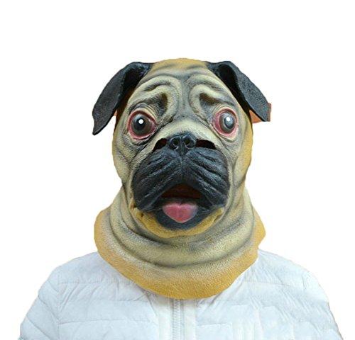 Auspicious beginning Neuheit Pug Hund Kopf Kostüm Party Latex Maske, Tier Kopf ()