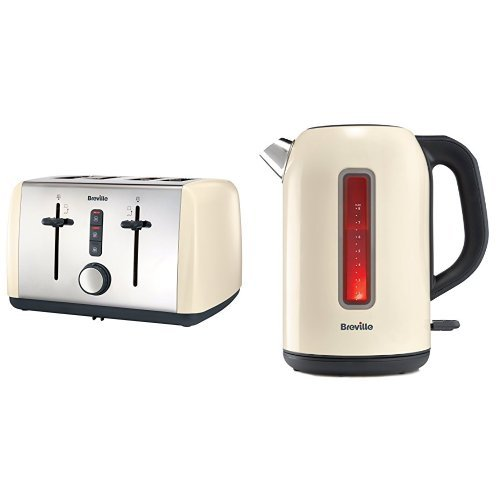 Breville VTT760 Colour Collection 4 Slice Toaster, Cream and VKJ899 Jug Kettle 1.7 L, Cream Bundle