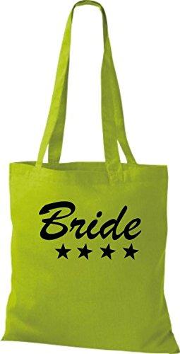 Shirtstown Stoffbeutel JGA Bride Braut viele Farben kiwi