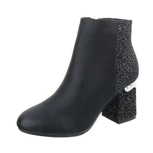 Ital-Design Klassische Stiefeletten Damen-Schuhe Klassische Stiefeletten Blockabsatz High Heels Reißverschluss Stiefeletten Schwarz, Gr 38, T157-